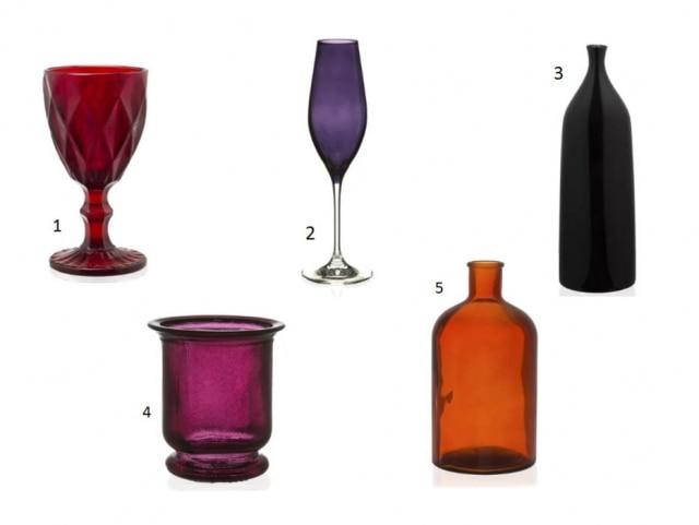 1- A taça Sophie (R$ 15,99), com capacidade para 230 ml de líquido, é ideal para aproveitar um bom vinho e relaxar no conforto do seu lar. 2- O formato da taça champagne passion (R$19,99) serve para que as borbulhas sejam mantidas por mais tempo. Ela tem capacidade para 210 mil e é feita com vidro de alta qualidade. 3-A garrafa decorativa oval (R$ 149,99) é fabricada em cerâmica na cor preta e possui acabamento fino. Com 52 cm de altura, ela é perfeita para ser usada em mesas laterais e aparadores ou diretamente no chão. 4-O porta-vela San Miguel roxo (R$19,99), de 6cmx7cm, é produzido em vidro reciclado e é perfeito para deixar o ambiente mais elegante e agradável. 5-O modelo Botella Retrátil San Miguel (R$ 79,99), com 22cmx12cm, é fabricado em vidro laranja. Além de super elegante, é perfeito para deixar o ambiente mais charmoso