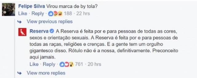 Reserva respondeu internauta que não gostou da campanha de Dia dos Namorados.