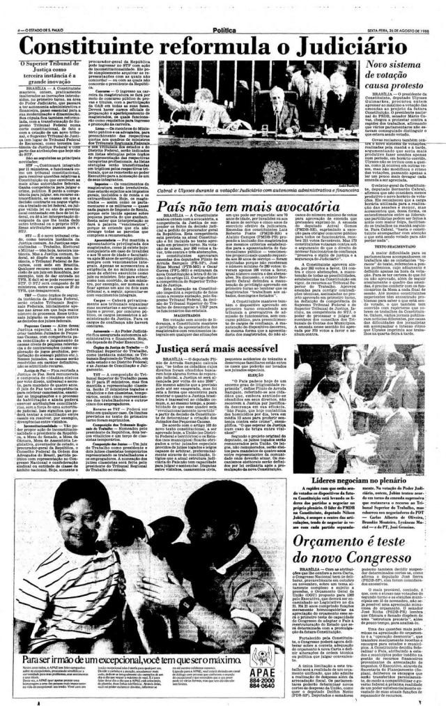 Jornal de 26 de agosto de 1988.