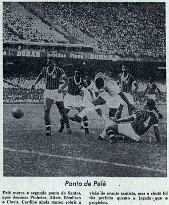 Ogol de placa de Peléno jornal de 7/3/1961