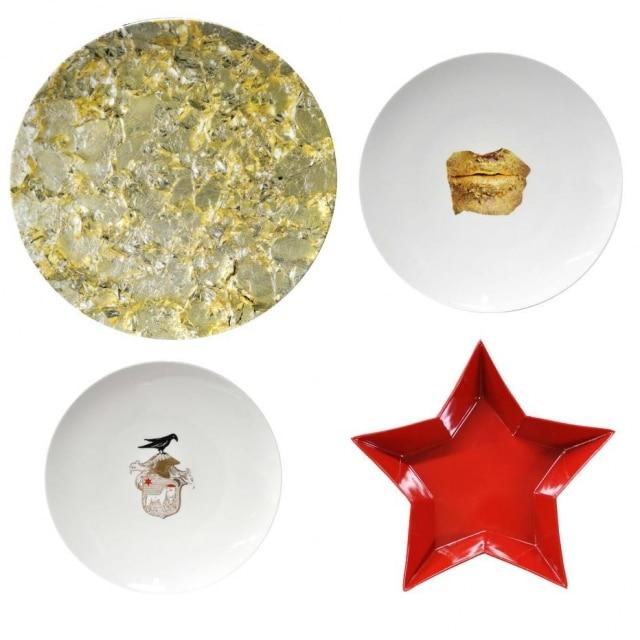 A coleção Misfits, da sérvia Marina Abramovic, tem prato em formato de estrela; outro comtextura de um de seus trabalhos; um com seubrasão de família e ainda um comreprodução de uma de sua principais obras