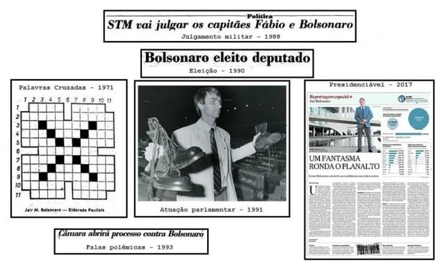 A história do candidato Jair Bolsonaro naspáginas do jornal.