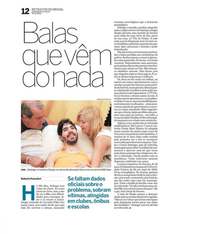 Página do caderno especialRetratos do Brasil - Armas- publicado em 15/10/2005.