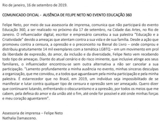 Comunicado oficial divulgado pela assessoria deFelipe Neto após o youtuber receber ameaças.