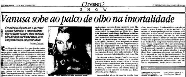 Vanusa embusca da imortalidade em 1991