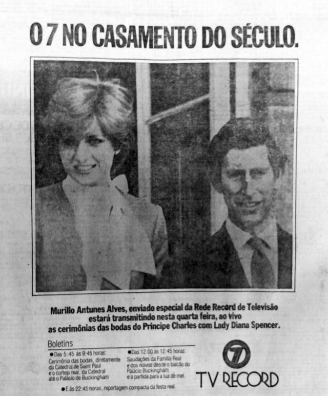 TV Record anunciava a trasmissão ao vivo do casamento do príncipe Charles com Lady Diana Spencer,Estadãod e 29/7/1981.