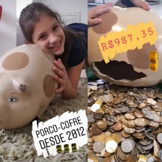 Alice, filha da jornalista Fernanda D'Ávila, que junta as finanças no cofrinho.