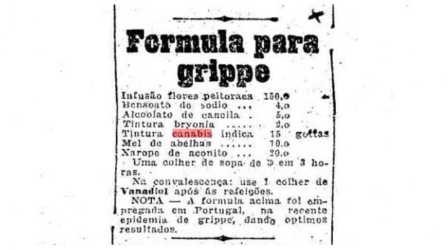 Anúncio de 1919 comremédio à base de maconha[cannabis]