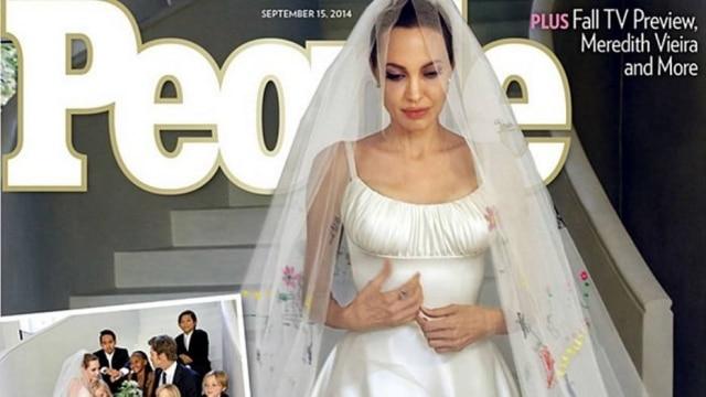 Angelina Jolie e o véu feito com desenhos dos filhos: amor maduro