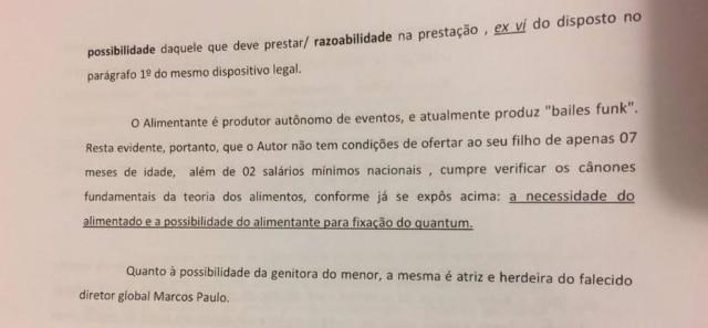 Trecho da intimação judicial enviada por Jonathan Costa
