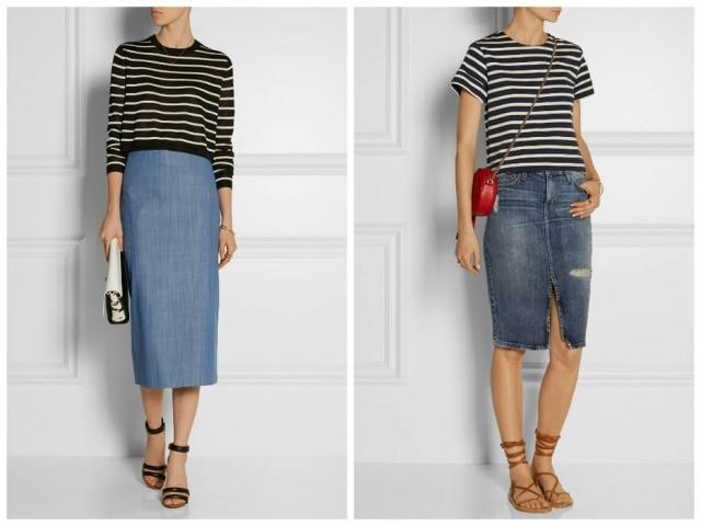O top listrado compõe uma produção fina com a saia mais longa da marca Current Elliot, enquanto a camiseta forma um look cool ao lado de rasteiras e saia da americana Tibi. Ambas as grifes vendem suas peças no e-commerce Net-a-Porter.