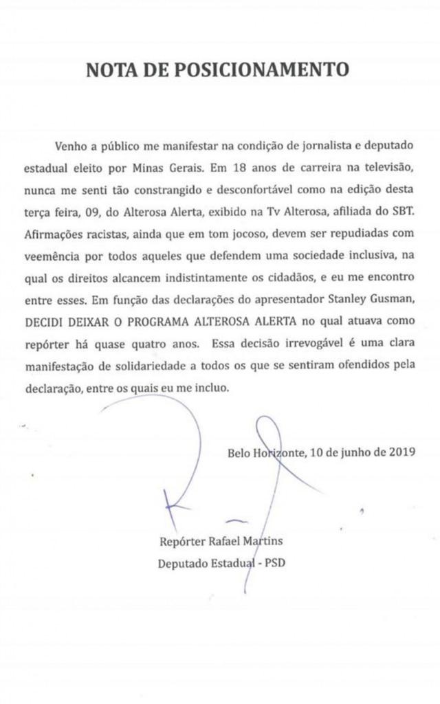Comunicado divulgado por Rafael Martins, ex-repórter do 'Alterosa Alerta', em 10 de julho de 2019.