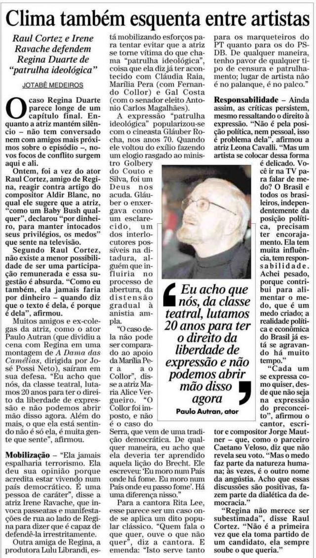 Notícia sobre Regina Duarte nojornal do dia 18/10/2002.