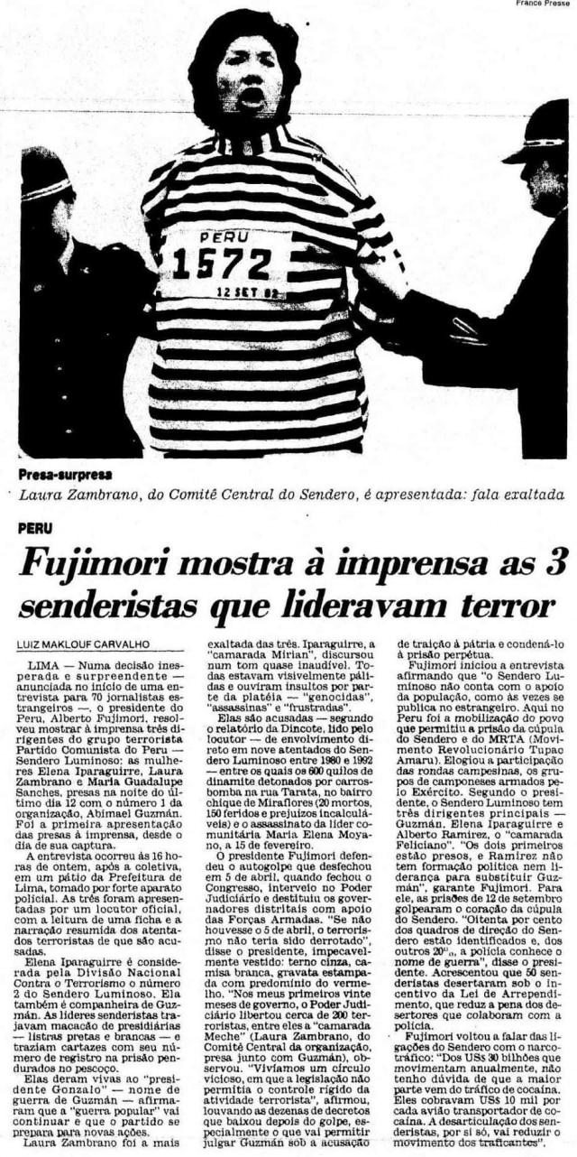 Reportagem de Luiz Maklouf Carvalhono Peru em 1992