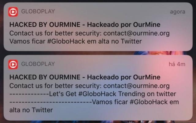 Mensagem de hackers após invasão ao sistema de notificações do Globoplay.