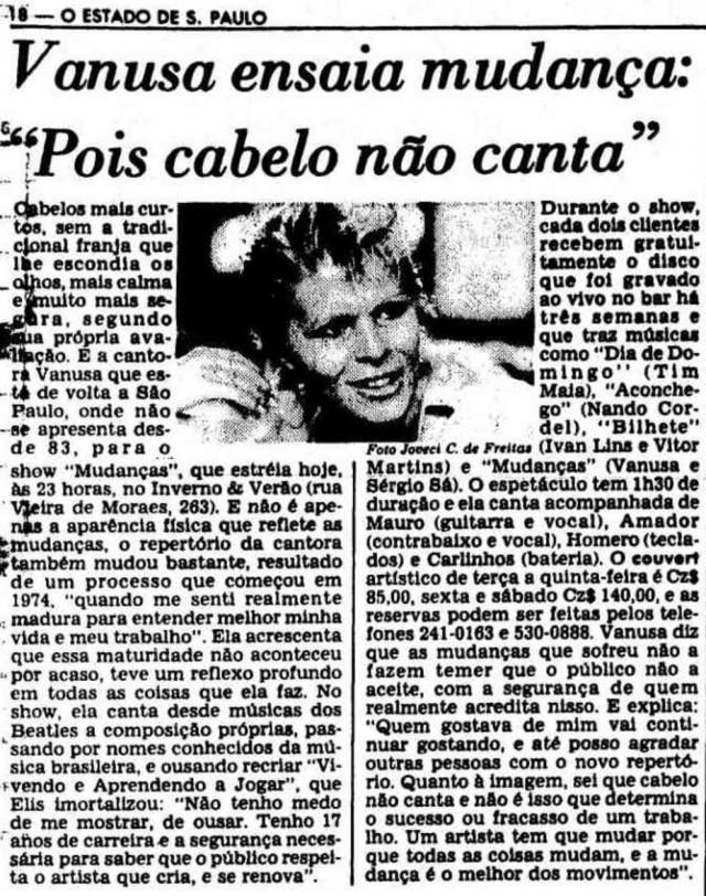 """""""Cabelo não canta"""":Vanusa em 1986"""