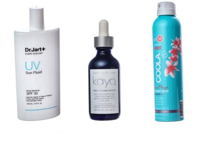 Da esquerda para a direita:Dr. Jart-Plus Every Sun Day Sun Fluid; Kayo Daily Vitamin Boost; Coola Sport SPF 50 Sunscreen Spray