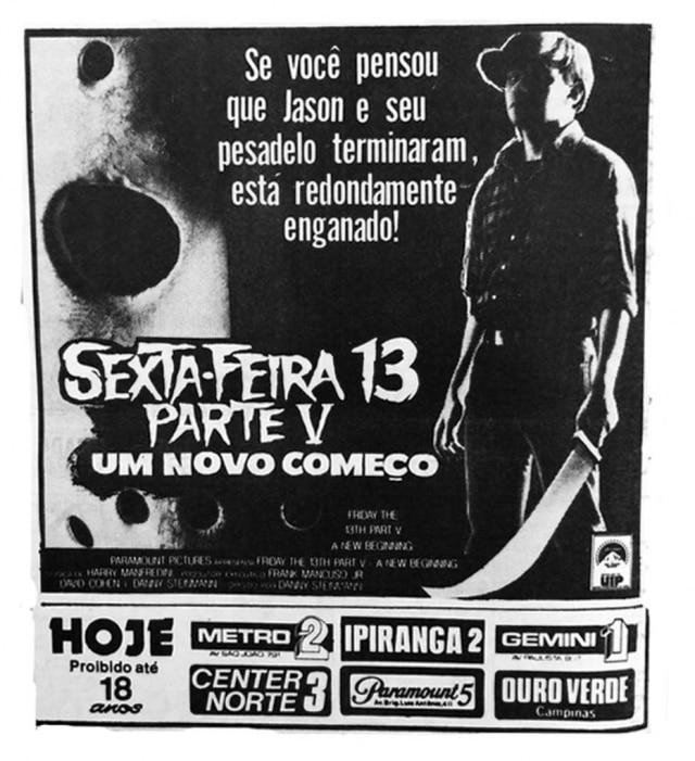 Detalhe para a máscara de Jason ao fundo no cartaz deSexta-feira 13: parte V, publicado noEstadão de 05/6/1986