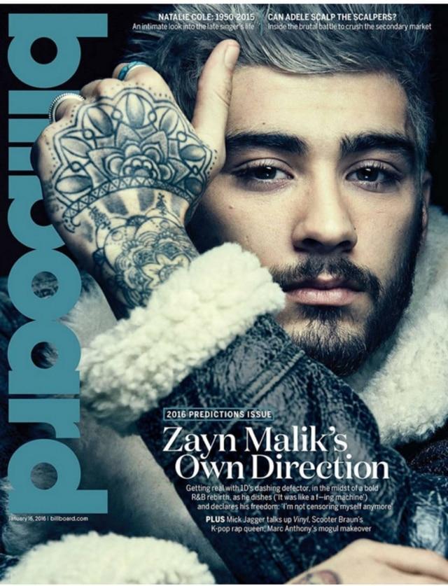 O cantor americano Zayn Malik na capa da revista Billboard