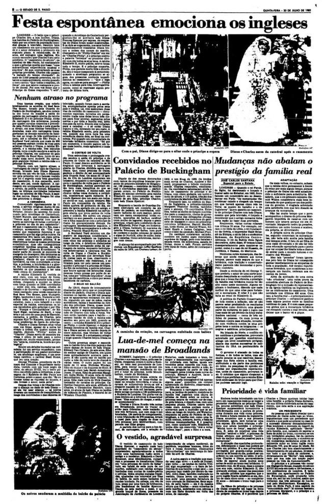 Cobertura do casamentodo príncipe Charles e princesa Diana>Estadão - 30/7/1981