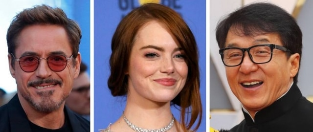Robert Downey Jr., Emma Stone e Jackie Chan