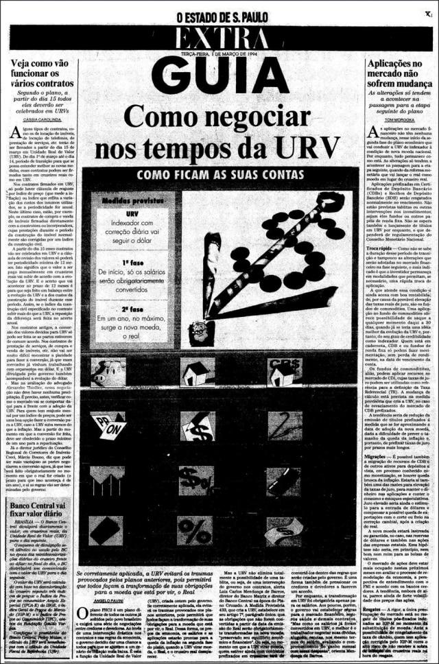 O Estado de S.Paulo- 01/3/1994