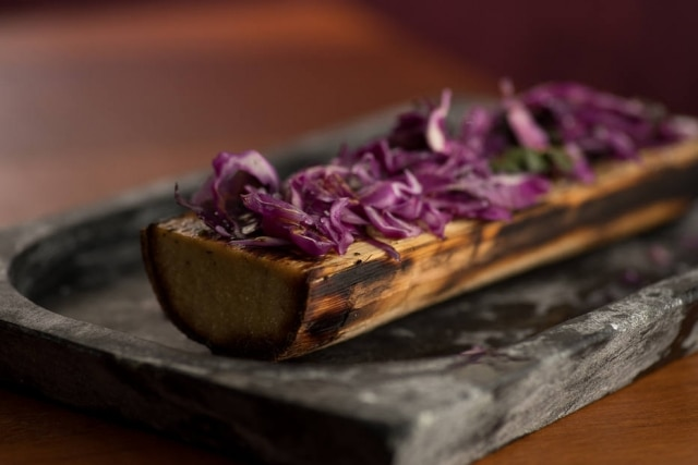 Só vegetal. Palmito pupunha assado e prato de vegetais tostados