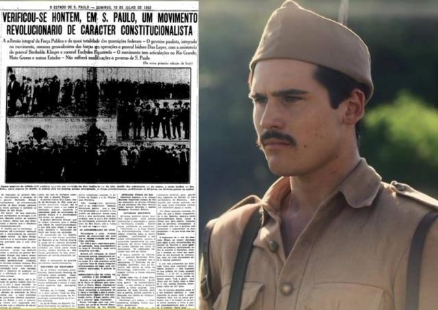 Imagem da novela 'Éramos Seis' e notícia do Estadão falando sobre a Revolução Constitucionalista de 1932. Foto: Reprodução/Globo