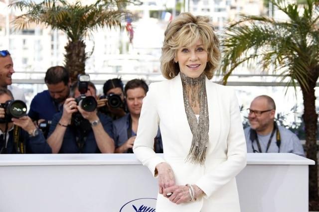 A atriz Jane Fonda, 77 anos, no tapete vermelho do Festival de Cinema de Cannes