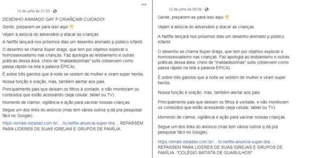 Exemplos de publicações com informações falsas sobre a série 'Super Drags' que foram veiculadas nas redes sociais