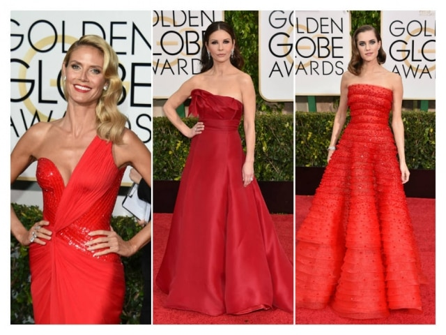 Heidi Klum veste Versace, Catherine Zeta-Jones Angel Sanchez e Allison Willians de Armani Prive