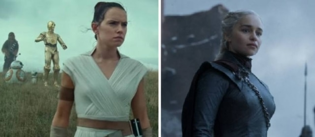 Cena de 'Star Wars IX: The Rise of Skywalker' e de 'Game of Thrones', respectivamente.