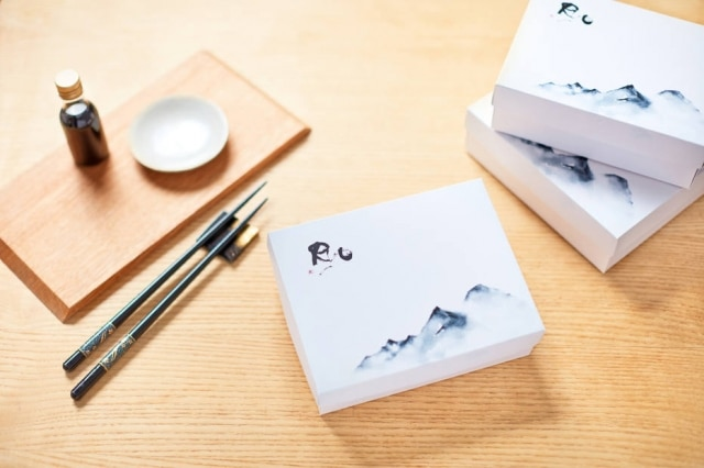 As delicadas caixas do Ryo refletem o conceito minimalista do restaurante.