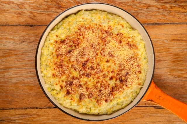Gratin de arroz com abobrinha da Julia Child.