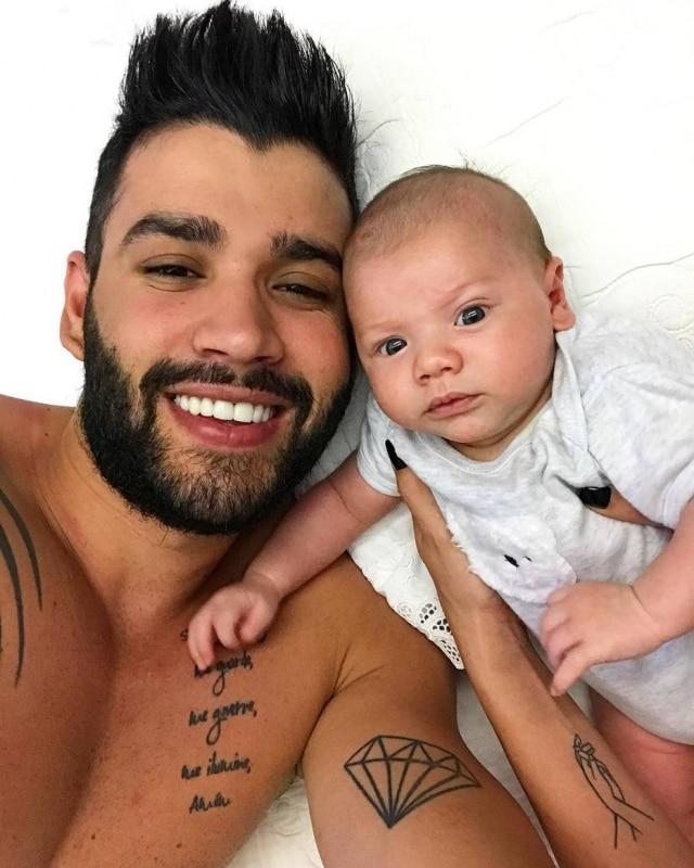 Gusttavo Lima e o primeiro filho, Gabriel