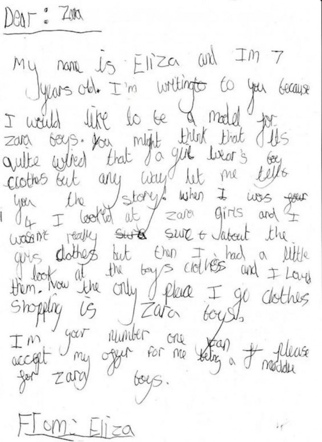 Eliza Brichto escreveu à mão a sua oferta