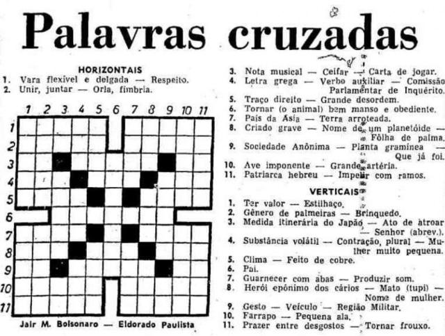 bolsonaro criou dicionário próprio para cruzadinhas eu tinha
