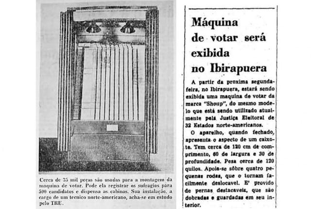 Imagem de máquina de votar publicada noEstadão de 02/7/1961e notícia sobreexposição destes aparelho no Ibirapuera em 1965.