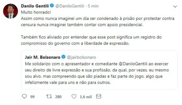 Danilo Gentili disse que ficou surpreso com o apoio do presidente Jair Bolsonaro.