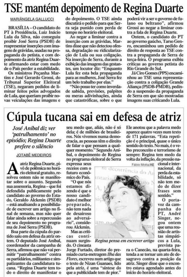 Notícia sobre Regina Duarte nojornal de 17/10/2002.