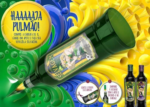 A Catuaba Selvagem anunciou versão especial para a Copa do Mundoem que a garrafa se torna uma vuvuzela