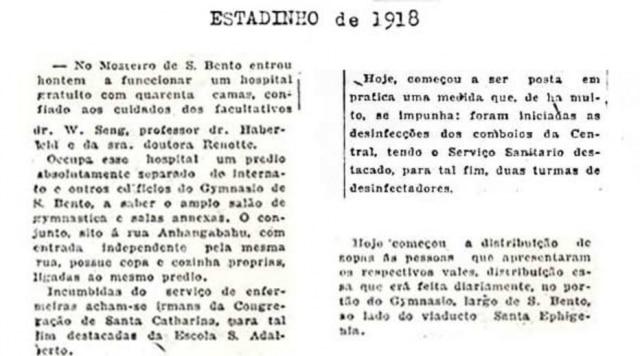 Notícias sobre a gripe espanholaEdição noturna do Estadão de 1918
