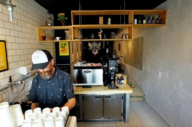 Vista da True Coffee desde o balcão da entrada