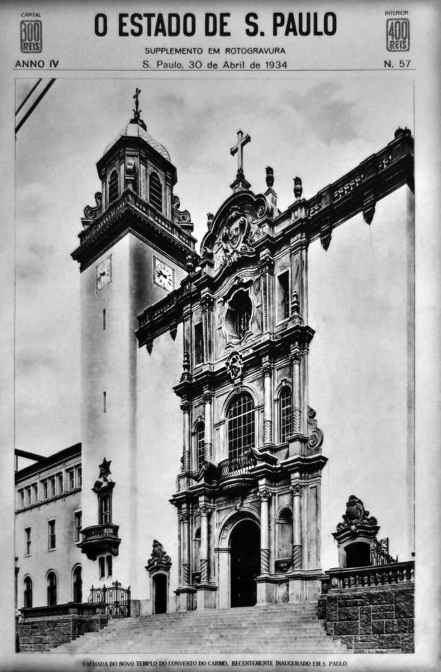 Fachada da Nossa Senhora do Carmo, em abril de 1934