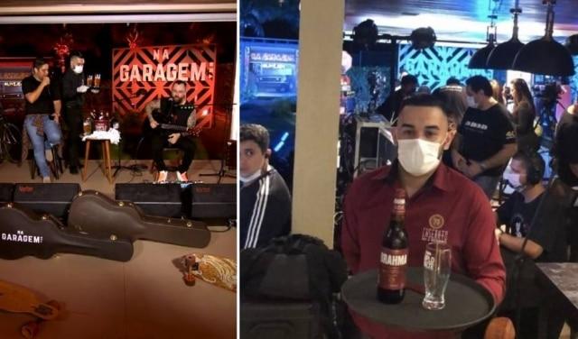 Garçom serve Jorge e Mateus durante live e, ao lado, aparece em foto nos bastidores da transmissão ao vivo.
