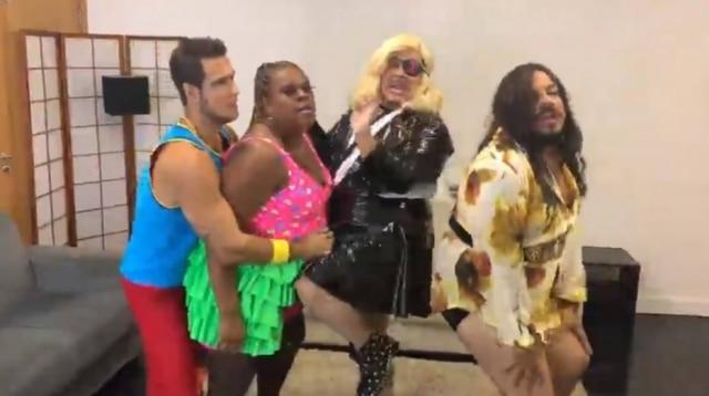 Emiliano d'Avila, Cacau Protasio, Marcus Majella e Luis Lobianco em paródia do 'clipe' de 'Faz Gostoso', de Anitta e Madonna.