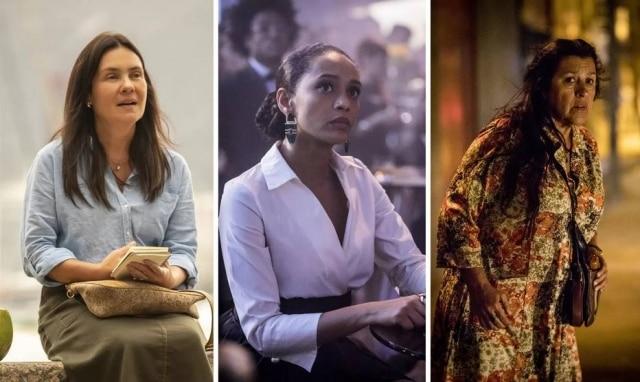 Adriana Esteves (Telma), Vitória (Taís Araújo) e Lurdes (Regina Casé), personagens da novela das 9'Amor de Mãe'.
