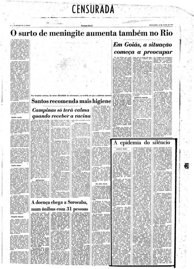 Página de 26/7/1974com texto de Clóvis Rossi censurado pela ditadura militar.