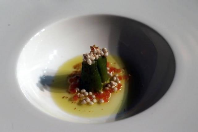 Receita de Roberta com caviar de quiabo, mostrada em evento em Goiás