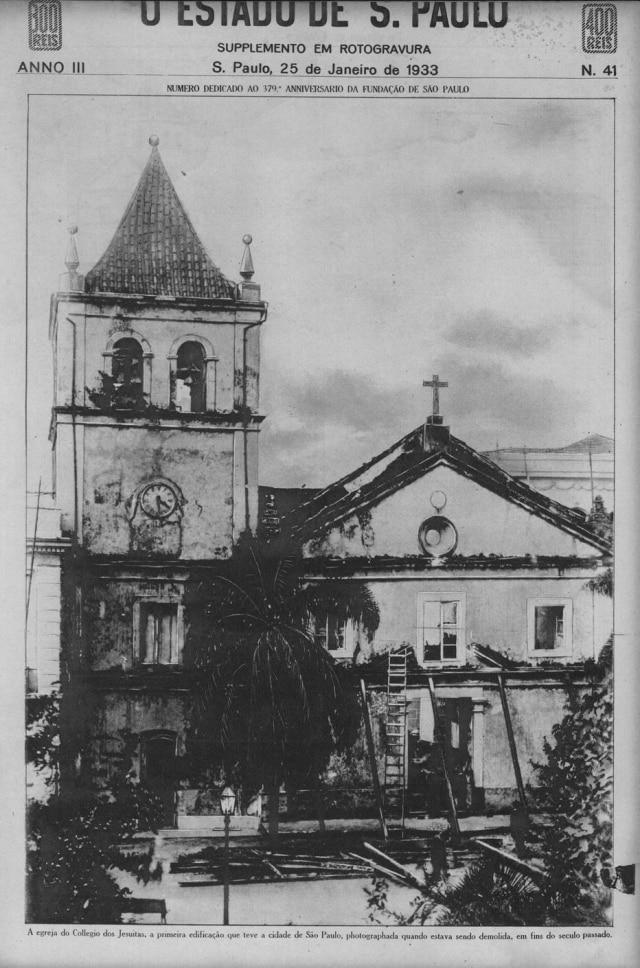 Antigopátio do Colégio, capa do Suplemento em Rotogravura em janeiro de 1933.